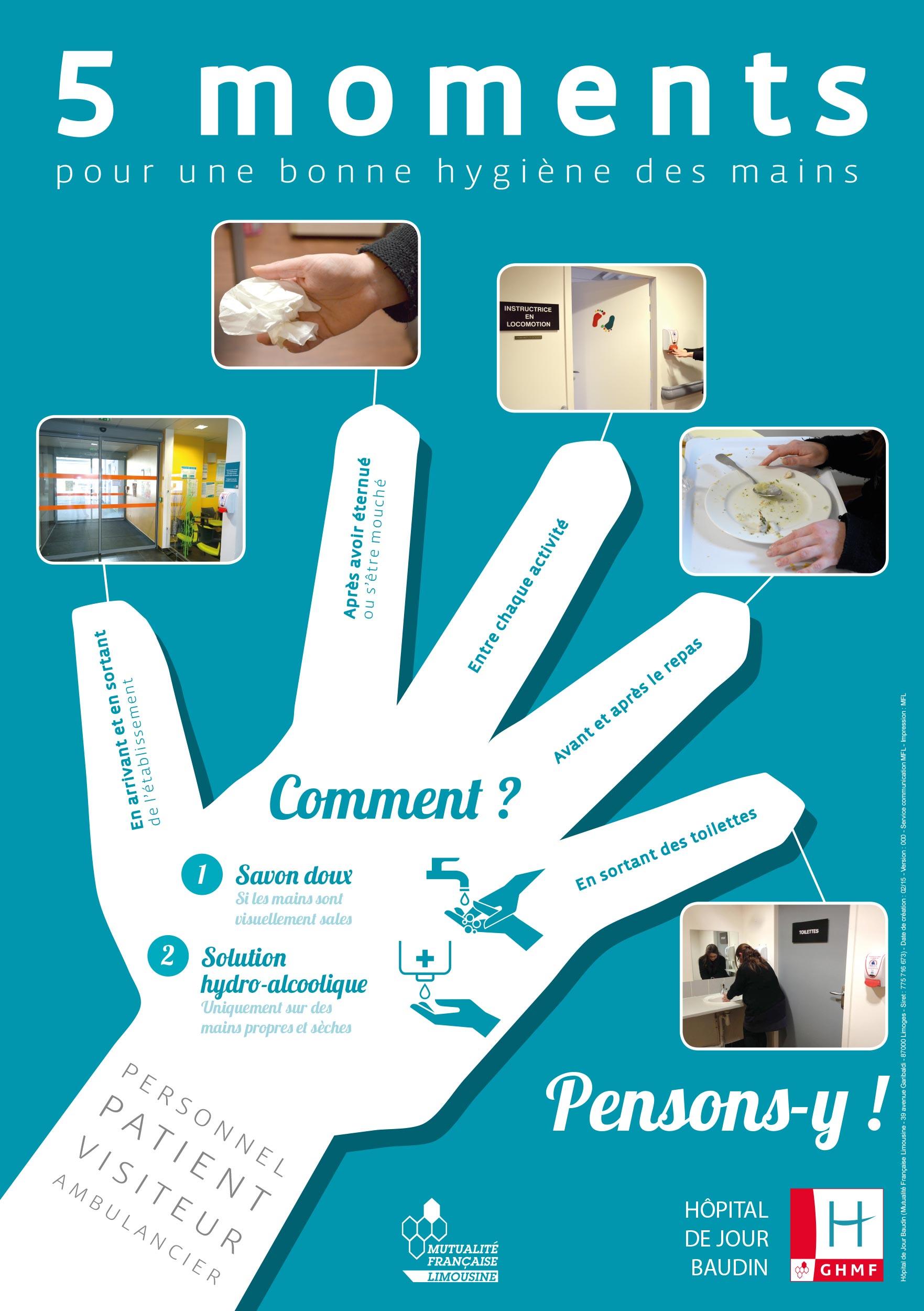 Affiche hygiene des mains baudin cpias nouvelle aquitaine - Protocole de lavage des mains en cuisine ...